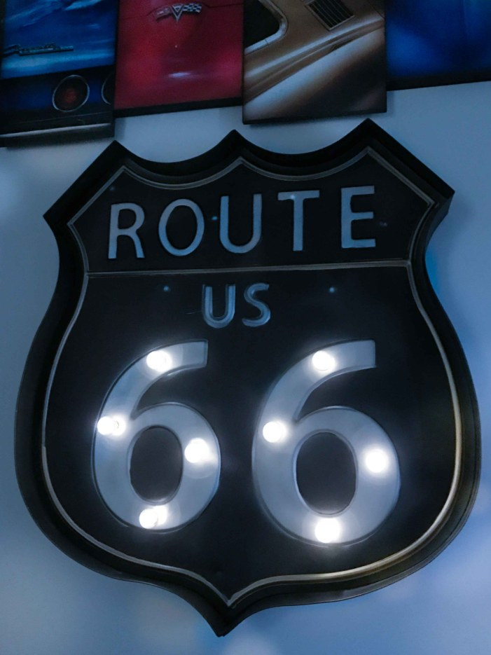A light up Route 66 sign