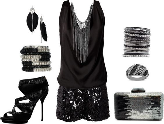 Black and silver outfit with feathers and sequins - this is perfect for a Vegas Girl's Getaway