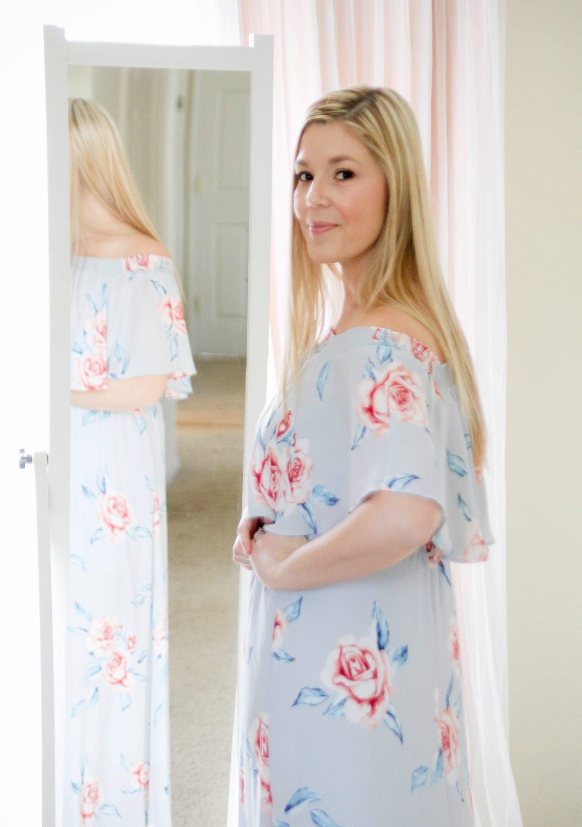 Mom Style For Spring– Blue Floral Maxi