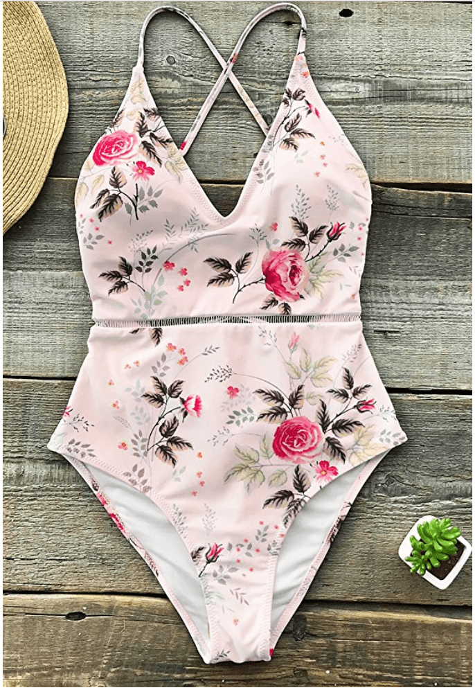 Pastel floral one piece bathing suit for moms
