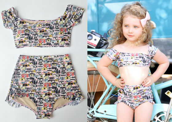 Matching mother-daughter bathing suits. 2-piece swimsuit with retro camera prints.