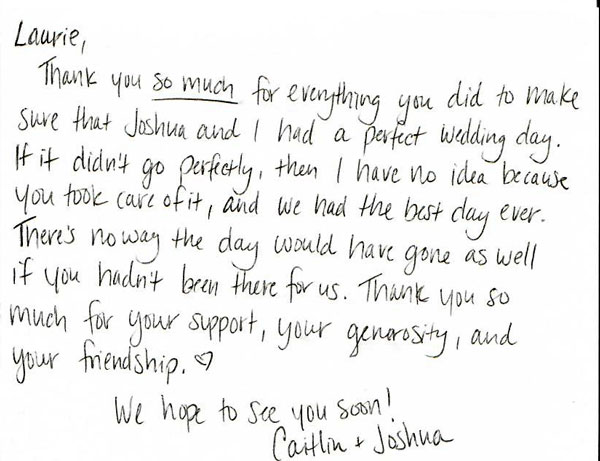 Guest Wedding Thank Note You