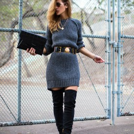 Oversized Sweater_Thigh High Boots