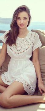 everydayfacts white summer dress Miranda Kerr