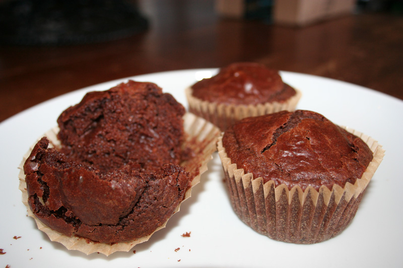 Chocolate Chocolate Chip Sourdough Muffins