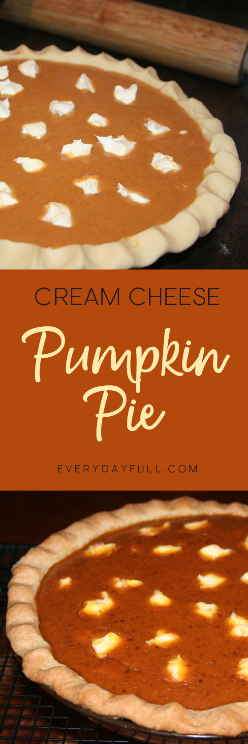 Cream Cheese Pumpkin Pie Baked and Unbaked Pinterest Pin