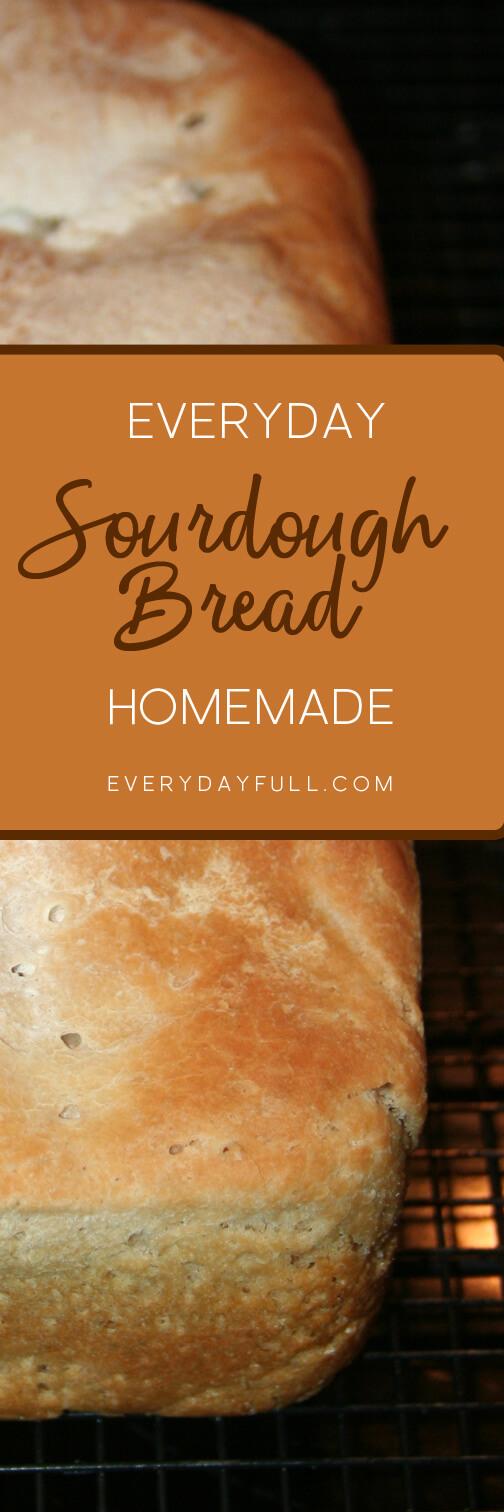 Loaf of homemade sourdough bread pinterest pin.