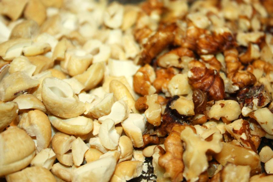 Close up of chopped cashews and walnuts