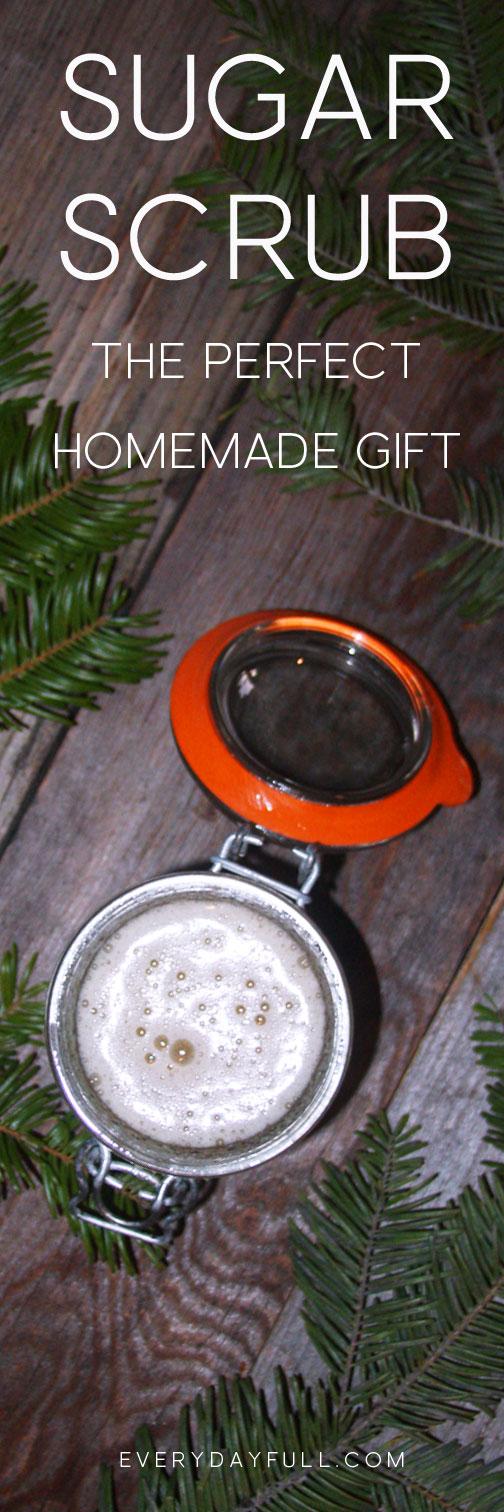 Homemade Sugar Scrub in a weck jar with evergreen sprigs all around Pinterest pin.