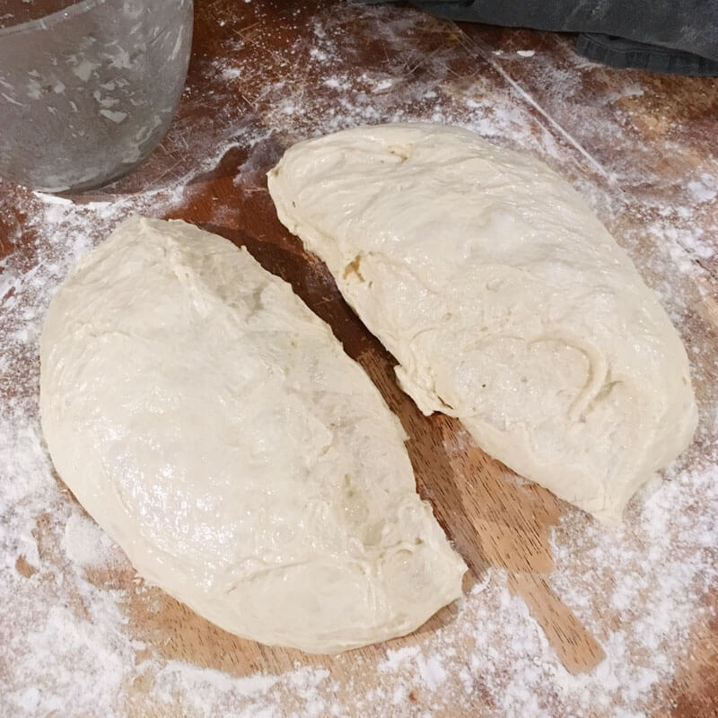 Divide the dough into two equal portions using your pastry cutter.