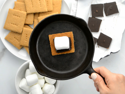 Too cold for a campfire? Try making smore's on a cast iron pan in your oven! The broil setting works best!