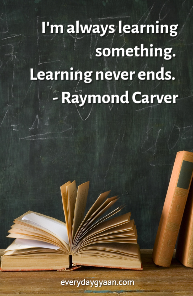 I'm always learning something. Learning never ends. - Raymond Carver
