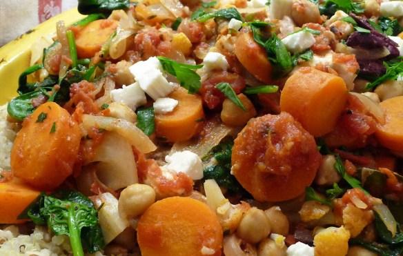 Greek Cauliflower & Chickpea Stew w/ Spinach, Kalamatas, Feta (c) jfhaugen