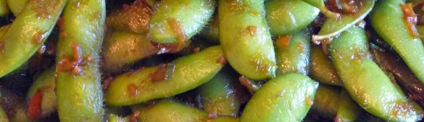 Stir-Fried Edamame w Garlic, Chili & Ginger