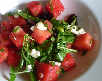 Watermelon Salad w/ Arugula, Feta & Greek Olives