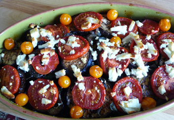 Summer Vegetable Gratin w/ Eggplant, Tomatoes, Chard, Pesto