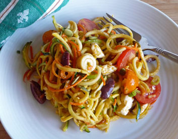 Late Summer Salad with Spiralized Veggies