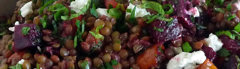 Roasted Beet & Carrot Lentil Salad with Tangy Orange Mustard Vinaigrette