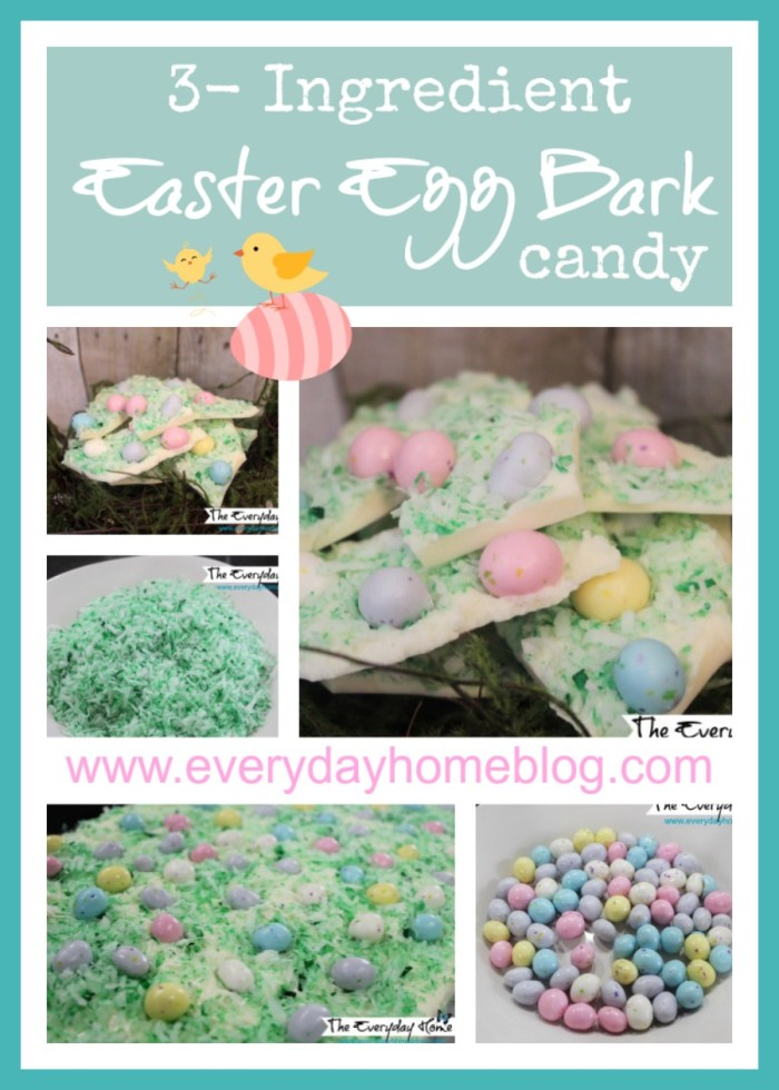 White Chocolate Easter Egg Bark Candy by The Everyday Home #recipe #baking #candy #Easter #foodgift
