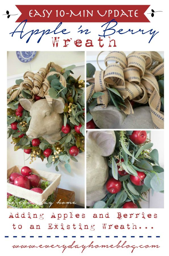 Apple 'n Berry Wreath The Everyday Home www.everydayhomeblog.com