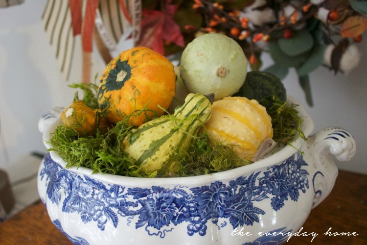 Blue and White Tureen with Pumpkins | A Fall Tour | The Everyday Home | www.everydayhomeblog.com