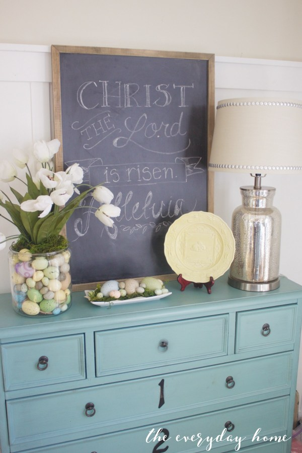 Spring Kitchen Tour   Blue Chest and Chalkboard   The Everyday Home