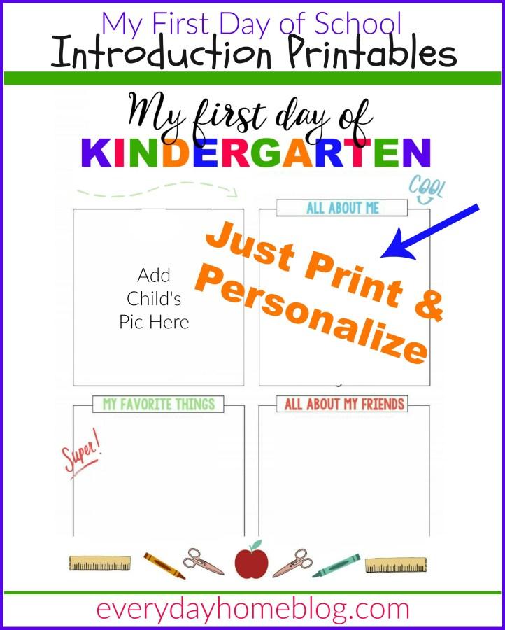 First Day of School Intro Printables  The Everyday Home  www.everydayhomeblog.com