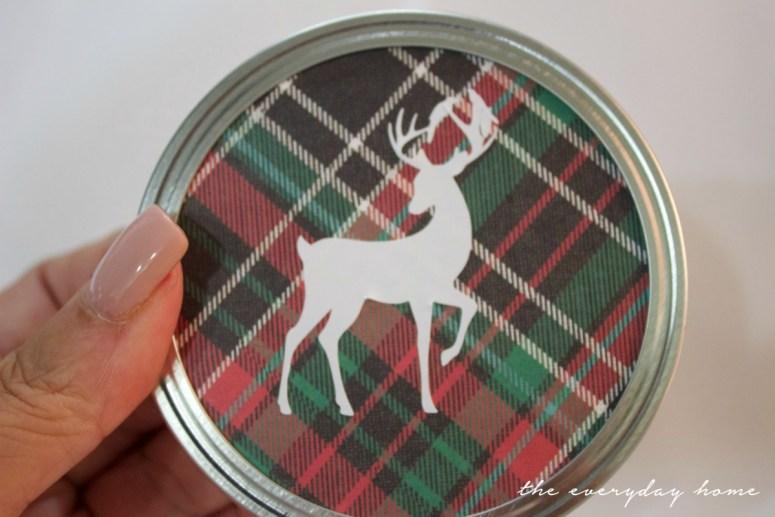 deer-sticker-on-plaid-paper-for-christmas-ornament   The Everyday Home   www.everydayhomeblog.com