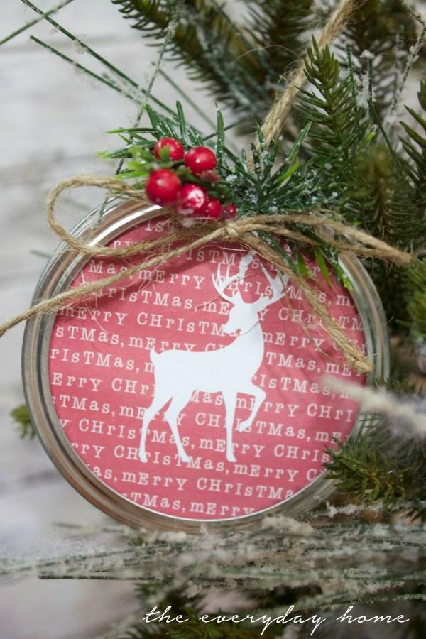 making-a-scrapbook-paper-mason-jar-lid-christmas-ornament   The Everyday Home   www.everydayhomeblog.com