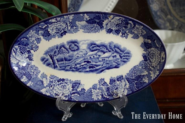 vintage-blue-oval-plate