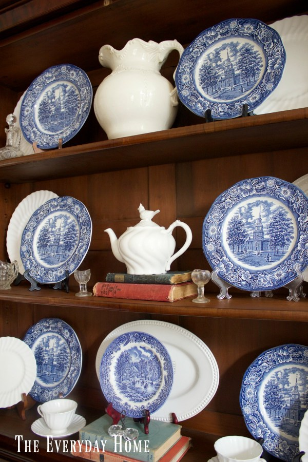 how-to-display-dishes-in-an-english-hutch | The Everyday Home | www.everydayhomeblog.com