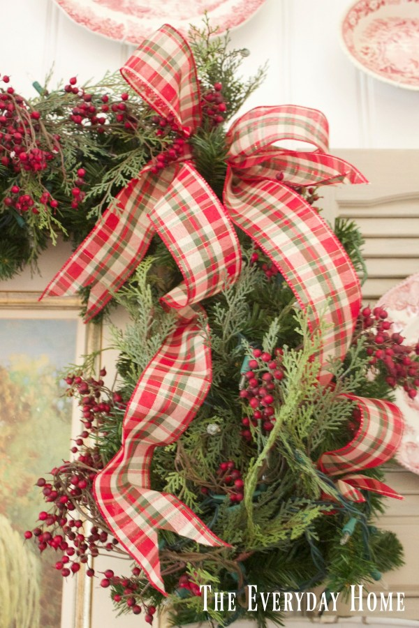 dining-room-buffet-for-christmas-plaid-bow