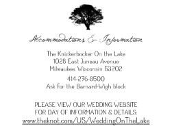 Lakeside Wedding - Accomodations
