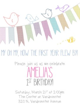 Birds + Banner - Birthday Invite