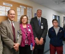 Laboratory Idea Board. (L to R) Doug Brown, Vicki Heinz, Dr. Dickson, Tracey Leger