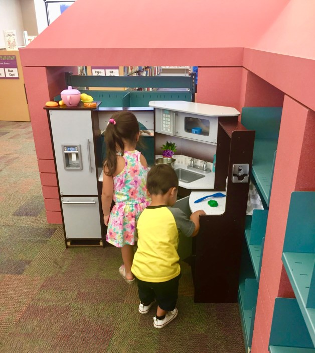 Playing at the Dallas Public Library