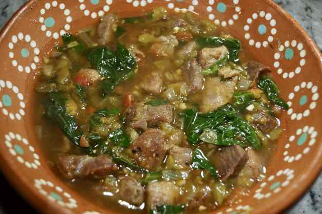 Amazing Pork Green Chile with Spinach