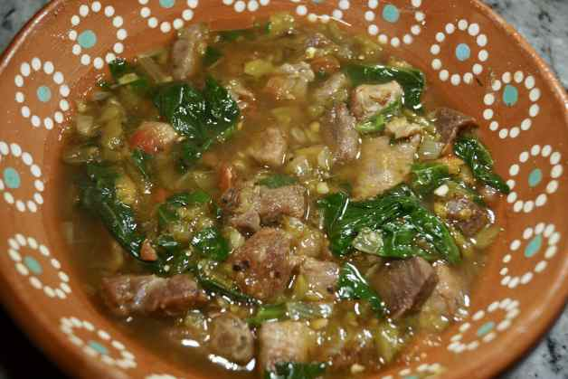Amazing pork green chile with spinach #amazingporkgreenchilewithspinach
