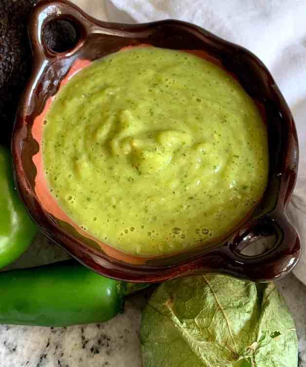 Creamy tomatillo avocado salsa #tomatillo salsa #avocadosalsa #mexicansalsa