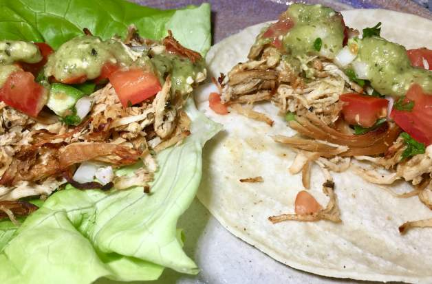 Whole30 slow cooker crispy chicken tacos #whole30slowcookercrispychickentacos #chickentacos #lettucetacos