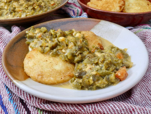 Potato patties with chile com queso