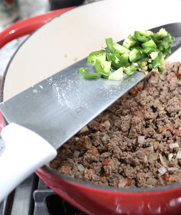 Adding diced jalapeño to ground beef