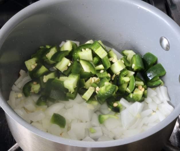 Sautéed onions, garlic and jalapeño #salsa #salsaingredients