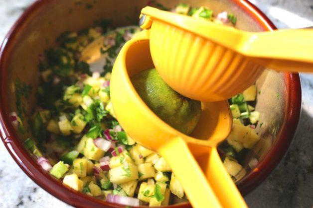 Lime juice on pineapple salsa #pineapplesalsa