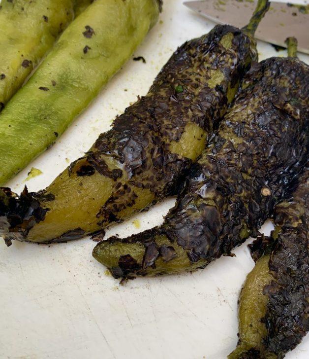 Roasted green chiles for pastel de papa #shepherdspie #roastedgreenchiles #pasteldepapa