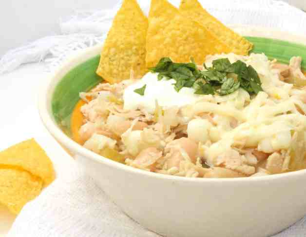 Side view of white chicken chili #pantrywhitechickenchili #whitechili #chickenchili