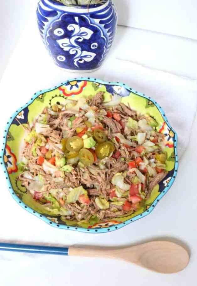 Salpicon (Mexican Shredded Beef Salad) #salpicon #mexicanshreddedbeefsalad