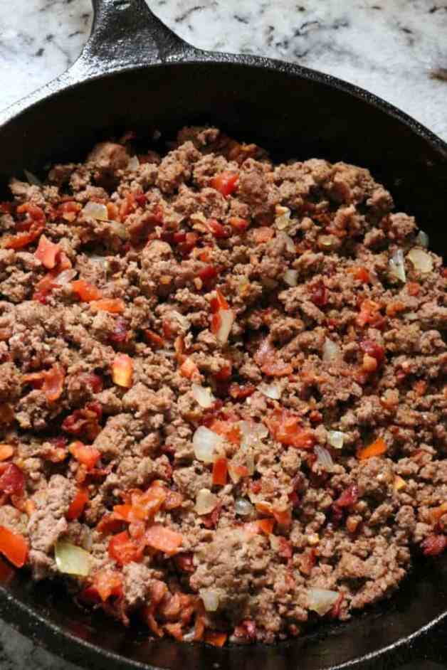 Ground beef for chiles rellenos #chilesrellenos #mexicanrecipes #whole30recipes