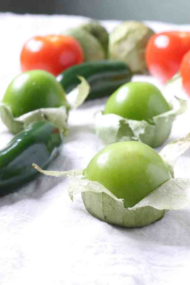 Tomatillos, tomatoes and jalapeños for salsa verde #mexicanrecipes #whole30recipes