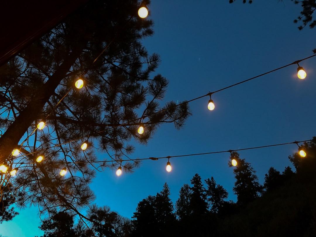 outdoor string lights at night